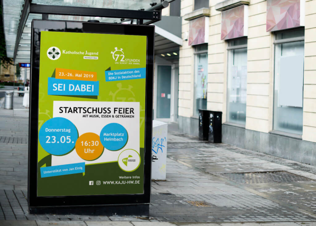 Mock up of an advertisement in a bus stop